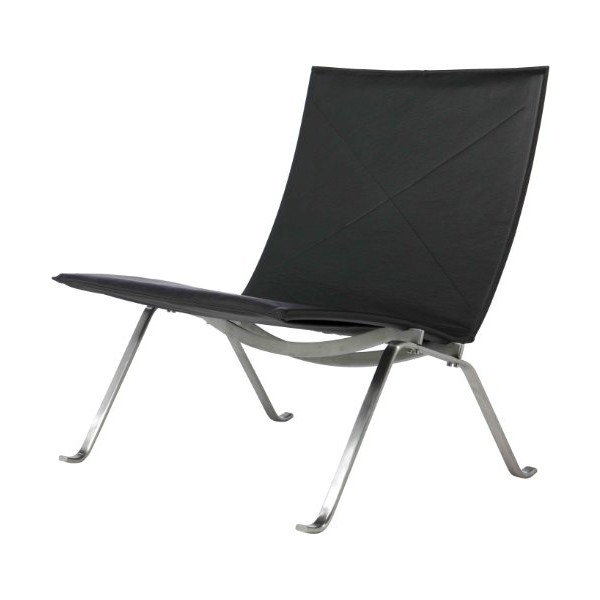AEON Fairfax Black Leather Lounge Chair With Brushed Stainless Steel Frame