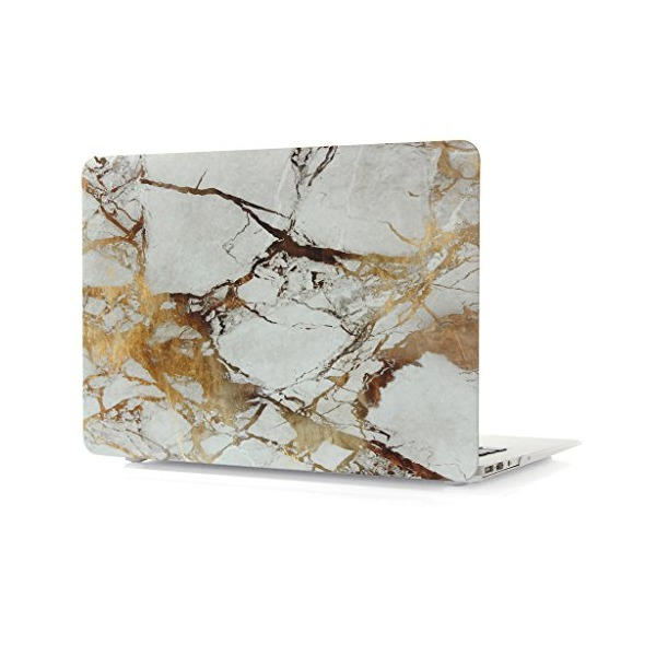 "MacBook Air 13"" Case, leminimo Rubber Coated Hard Shell Frosted Cover for MacBook Air 13 Inch (Model: A1369/A1466)-WHITE MARBLE PATTERN"