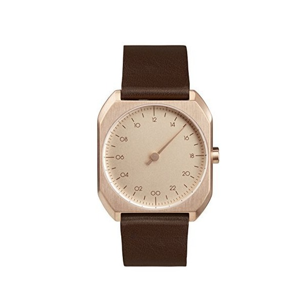 slow Mo 10 - Swiss Made one-hand 24 hour watch - Rose gold with dark brown leather band