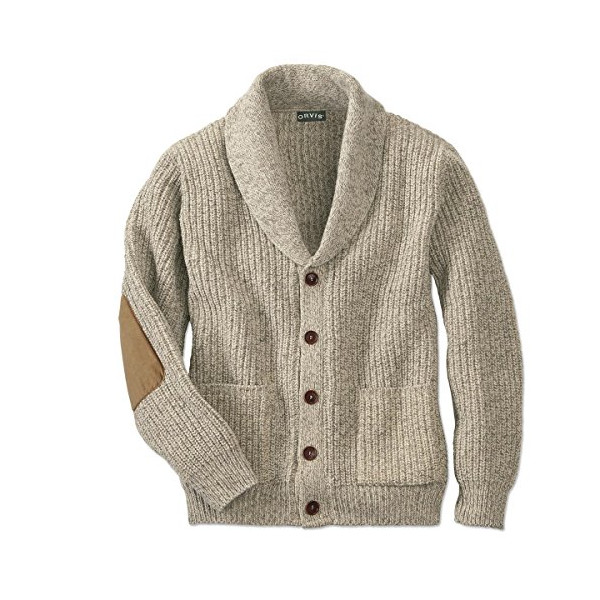 Orvis Men's Wool-blend Shawl Cardigan Sweater, Oatmeal, Large