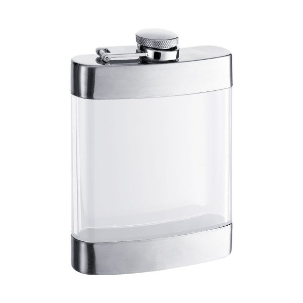 "Visol ""Clear"" Stainless Steel See Thru Flask, Satin Finish, 6-Ounce, Chrome"