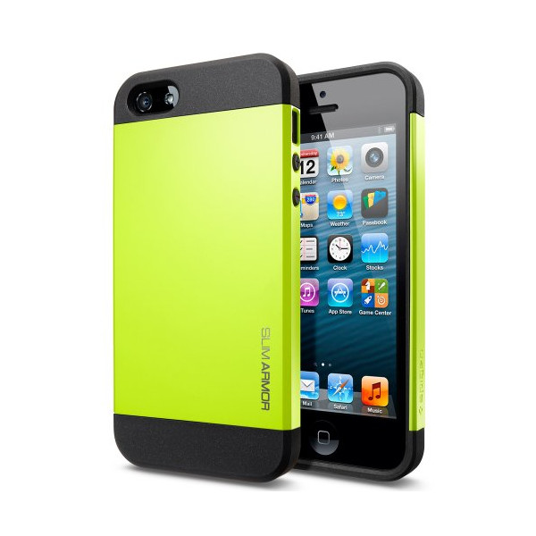 Spigen SGP10101 Slim Armor Color Case for iPhone 5/5S - 1 Pack - Retail Packaging - Lime