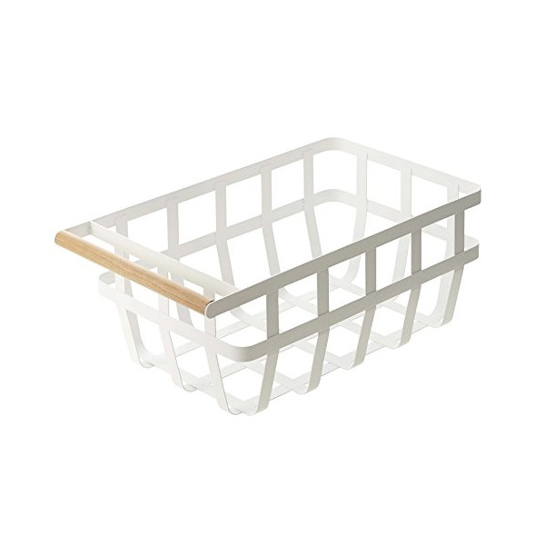 YAMAZAKI home 2508 15.2 x 8.7 in. Tosca Storage Basket With Handle - White