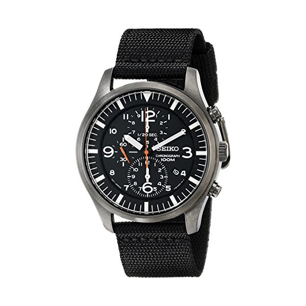 Seiko Men's SNDA65 Stainless Steel Watch with Black Canvas Strap