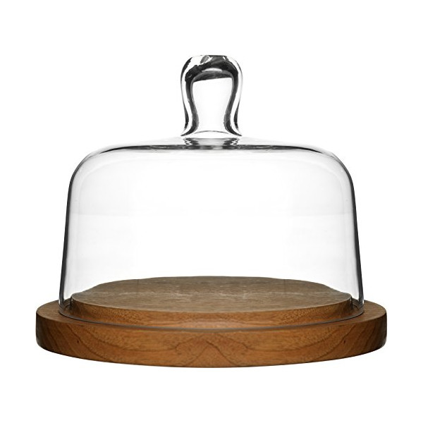Sagaform 5026044 Oak Cheese Dome with Hand-Blown Glass Lid