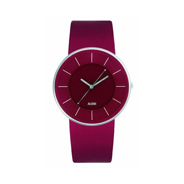 Alessi Luna Leather Watch, Dark Red