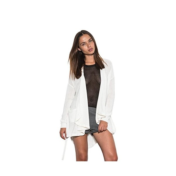 Women Long Sleeve Quinn Hi-Lo Knit Cardigan Open Back White One Grey Day-M