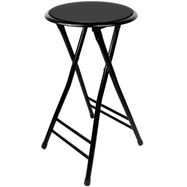 Trademark Gameroom Black Cushioned Folding Stool, 24""