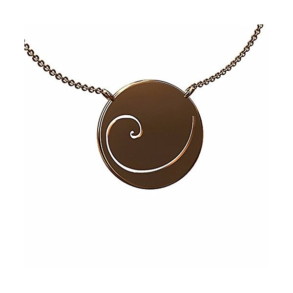 14K Pink Gold Fibonacci Spiral Pendant Necklace 16 mm in diameter