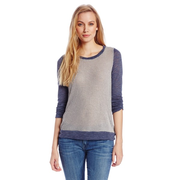 Splendid Women's Azulon Knit Boyfriend Long Sleeve Top, Navy, Medium