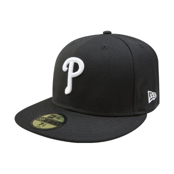 MLB Philadelphia Phillies Black with White 59FIFTY Fitted Cap, 7 1/8
