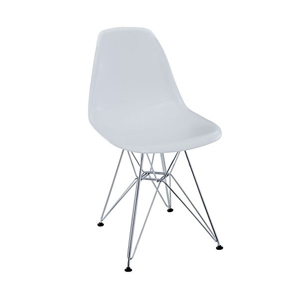 LexMod Plastic Side Chair in White with Wire Base