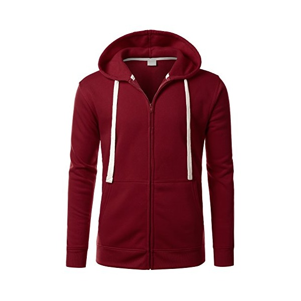 URBANCREWS Mens Hipster Hip Hop Classic Zip-Up Hooded Jacket BURGUNDY LARGE