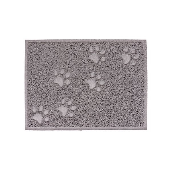 WXQ Pet PVC Placemat Claw Print Pet Placemat Dish Dinner Food Water Bowl Mat Placemat Blanket For Dog Cat Puppy Pet 11.8x15.8 inch (Grey, Square)