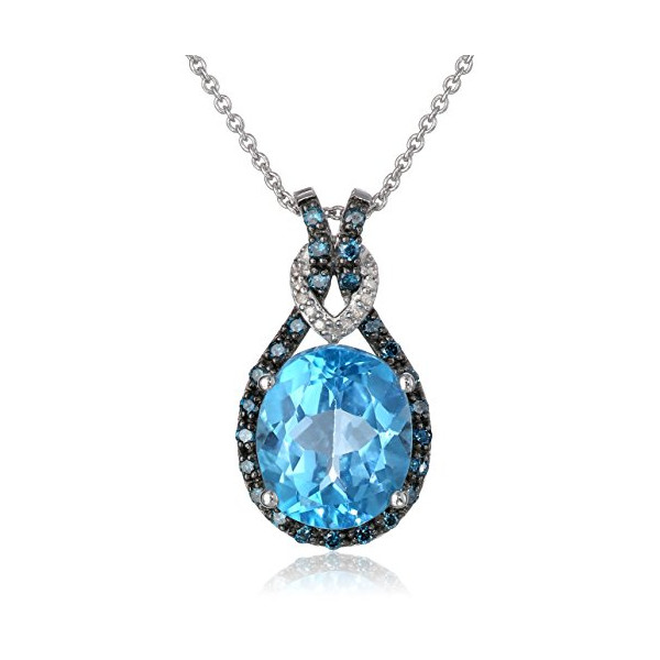 Sterling Silver and Oval Blue Topaz with Blue and White Diamonds Celtic Knot Pendant Necklace 18""