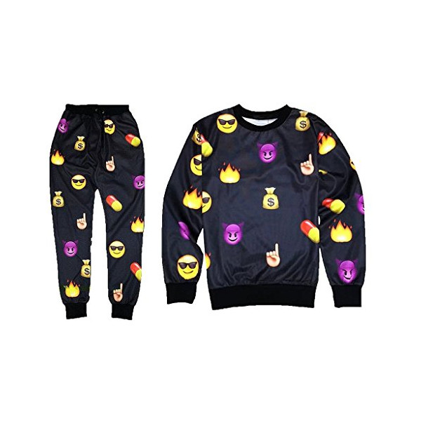 Roseate 3D Emoji Sweatsuits Sweatpants T Shirt Joggers Black XS