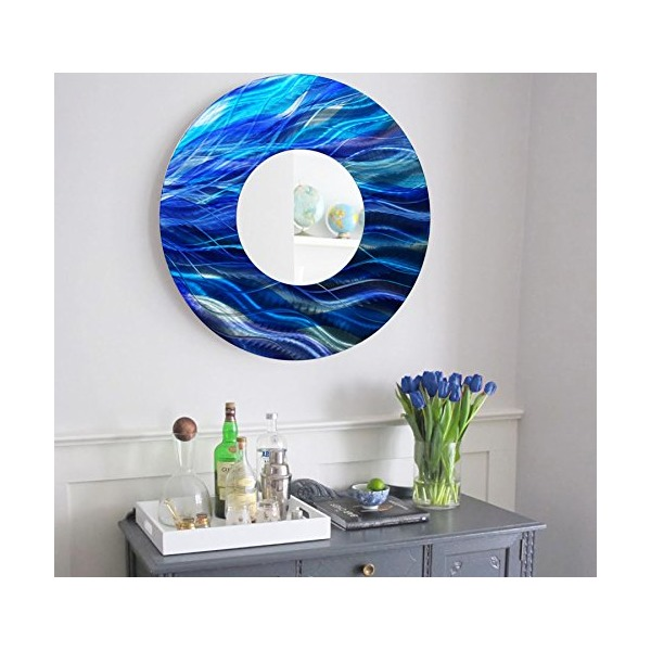 Blue Abstract Round Large Metal Wall Mirror - Modern Metal Wall Art - Contemporary Colorful Wall Decor Accent by Jon Allen - Mirror 111