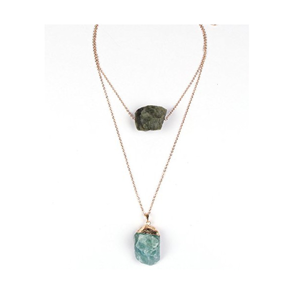 """Falling Stone"" Layer Raw-Crystal Stone Necklace"