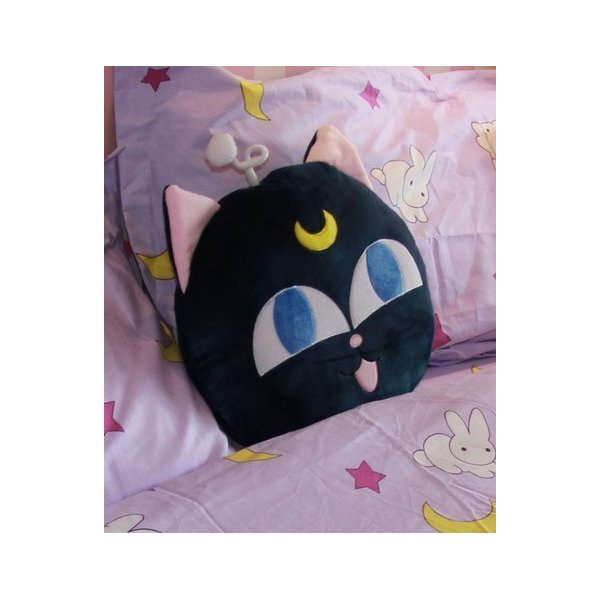 Sailor Moon Luna Cat Tsukino Usagi Pattern Pillows Cotton Purple Amo Anime Cosplay b2