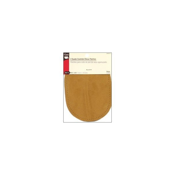 Dritz Suede Cowhide Elbow Patches - Beige 4-3/4 by 6-1/4 inches - 2 Count