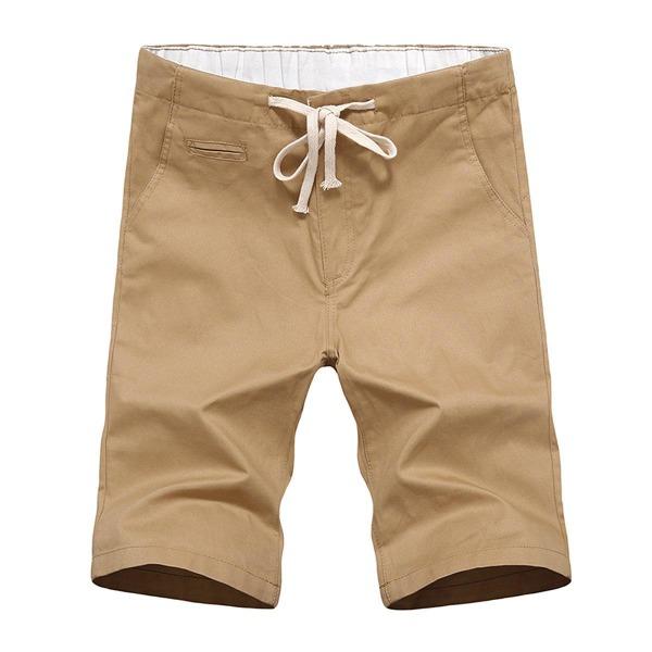 Men's Summer Plain Flat Front Elastic Waist Casual Chino Shorts, Khaki