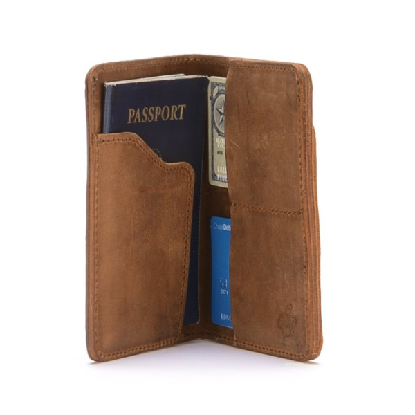 Leather Tobacco Passport Wallet with RFID Shield