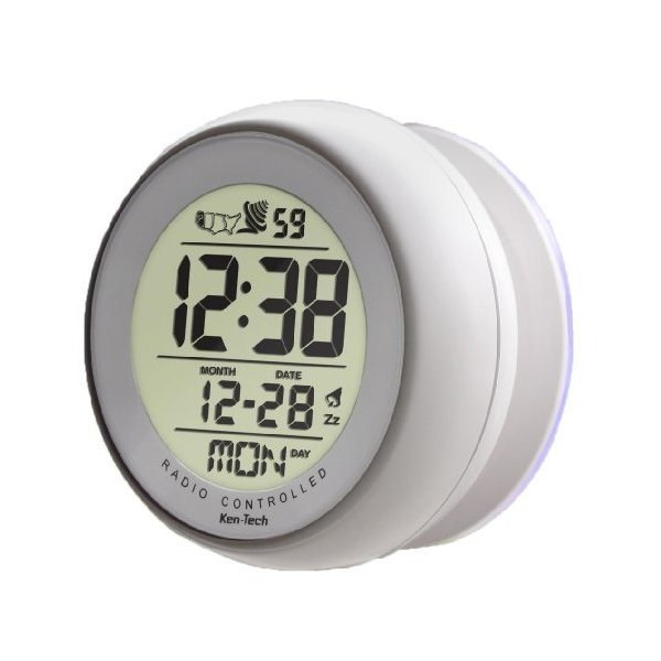 White Color Atomic Bathroom Digital Alarm Clock With suction cup (1)