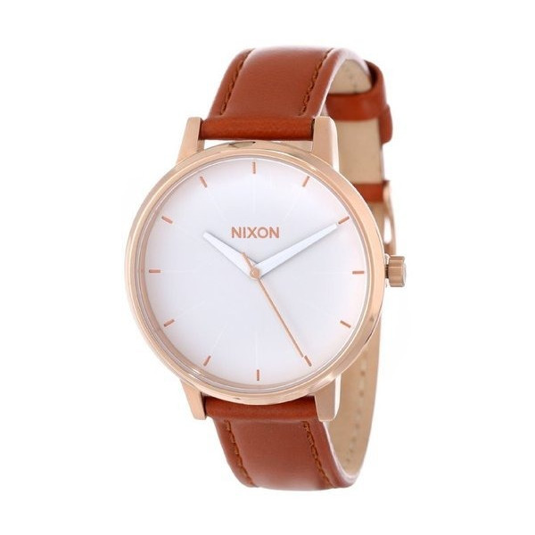 Nixon Quartz Kensington Brown Leather White Dial Women's Watch A108-1045