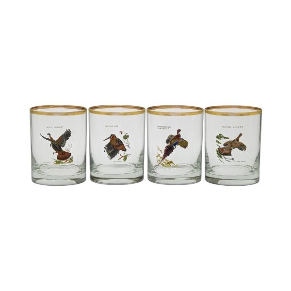 Culver's Ned Smith Upland Gamebirds 14-Ounce Double Old Fashion Glass, Set of 4