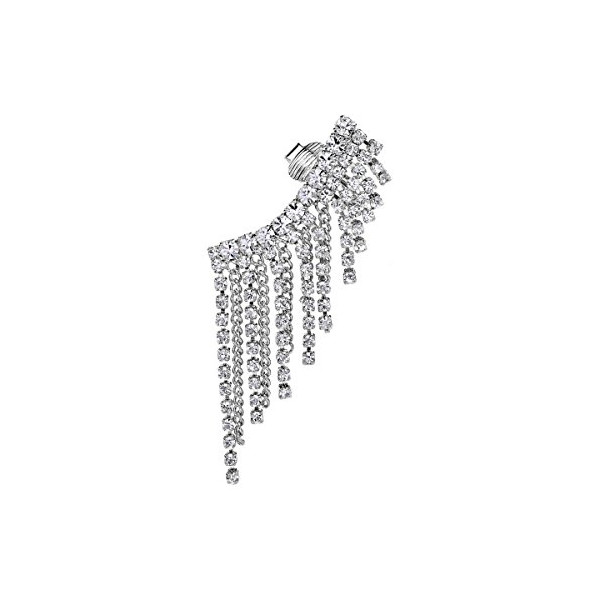 OKAJEWELRY Crystal Ear Cuff Wrap Earring Dangle Layer Chains Silver Tone Clip on Left Ear 1pc
