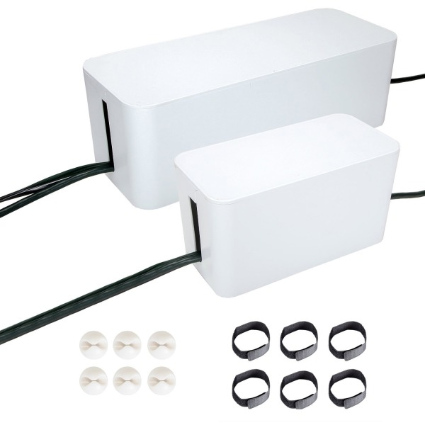 Cable Management Systems, Two Boxes : 16 and 9 Inches. Including Cord Organizer Clips and Wire Arranging Ties. (white)