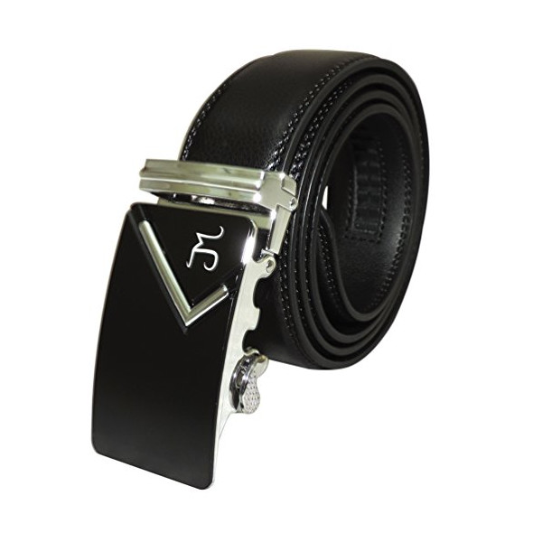 J Mrad - Men's Genuine Leather Ratchet Dress Belt with Automatic Sliding Buckle - Black Style 139 - Pant Size 34