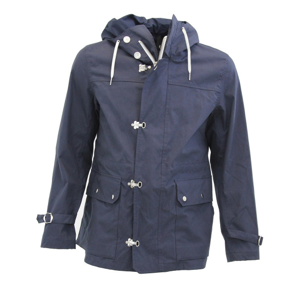 Bloomingdale's Men's Hooded Anorak Rain Jacket-Mood Indigo-M