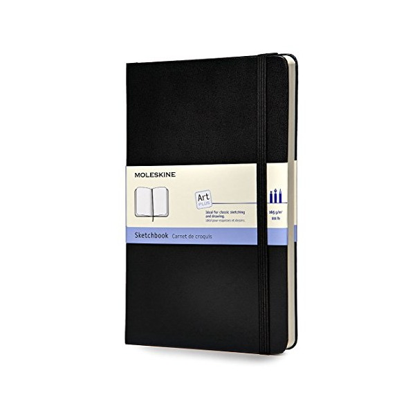Moleskine Art Plus Sketchbook, Large, Plain, Black, Hard Cover (5 x 8.25) (Classic Notebooks)