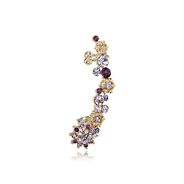 Okajewelry Sweep up Rhinestone Snowflake Flower Clip Ear Cuffs Cartilage Cuff Wrap Earring (Purple)