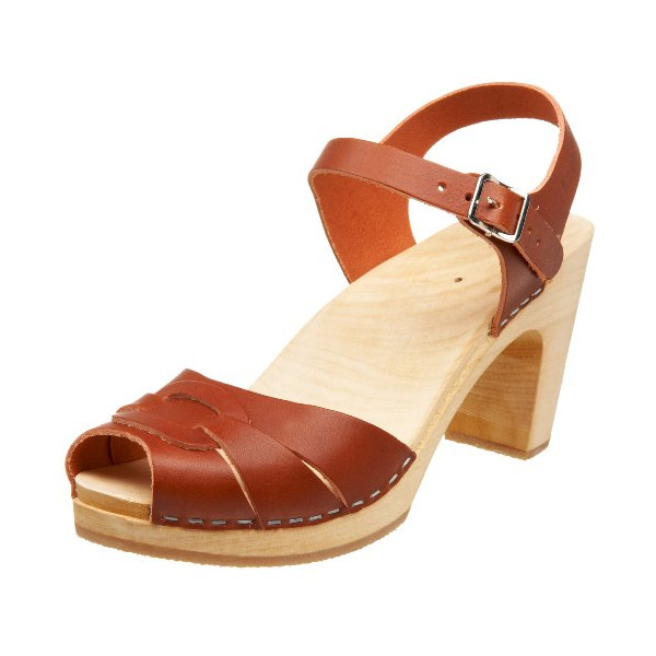 swedish hasbeens Women's Peep Toe Super High Clog,Cognac,9 M US