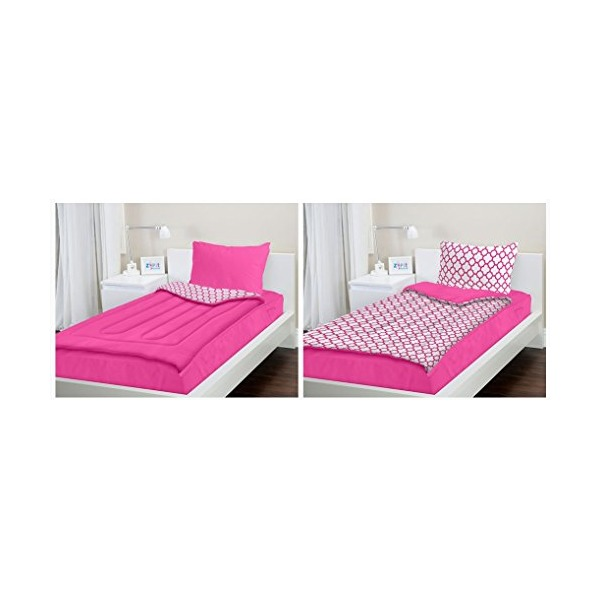 Zipit Bedding Set, Pink Clovers - Twin - Zip-Up Your Sheets and Comforter Like a Sleeping Bag!