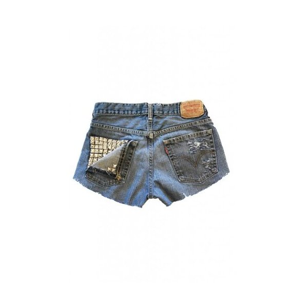 Studded Vintage Levi's High Waisted Jean Shorts Destroyed Ripped Women-XS