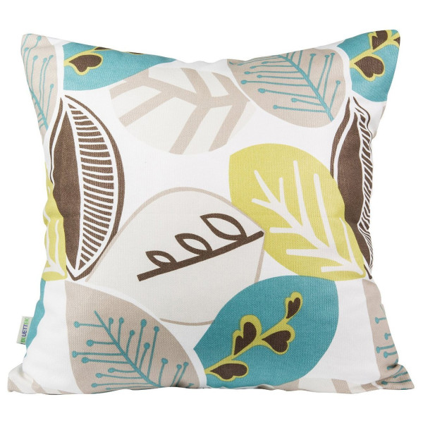 "Canvas Decorative Throw Pillow Case Leaves Design 18"" X 18"" (Green)"