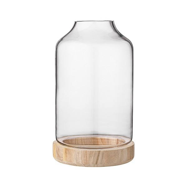 Bloomingville Glass Lantern with Wood Base, Large