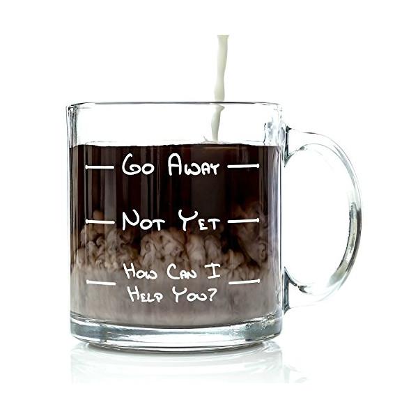 Go Away Funny Glass Coffee Mug - Unique Novelty Gift for a Mom, Dad, Husband, Boyfriend, Wife, or Girlfriend - Cool Christmas Stocking Stuffer Idea or Birthday Present for Men & Women, Him or Her
