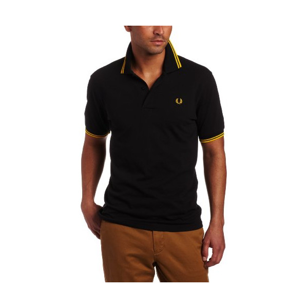 Fred Perry Men's Twin Tipped Polo, Black/New Yellow/New Yellow, Medium