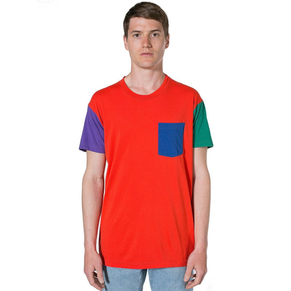 American Apparel Power Washed Color Block Pocket Tee