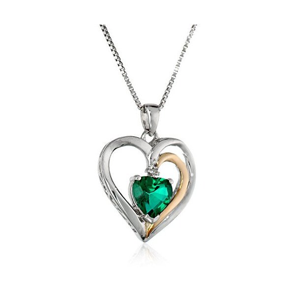 "Sterling Silver and 14k Gold Created Emerald and Diamond Heart Pendant Necklace (.007 cttw, I-J Color, I2-I3 Clarity), 18"" + 2"" Extender"