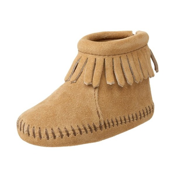 Minnetonka Back Flap Bootie (Infant/Toddler),Tan,2 M US Infant