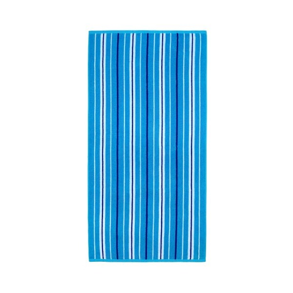 Cotton Craft - Terry Beach Towel 30x60 - 2 Pack - Portsmouth Blue Stripe - 400 grams 100% Pure Ringspun Cotton - Brilliant intense vibrant colors - Highly absorbent easy care machine wash - Use for picnic poolside or as a colorful bath towel