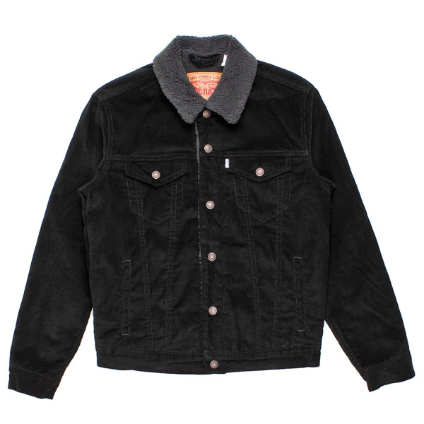 Levi's Men's Sherpa Trucker Jacket, Black Corduroy