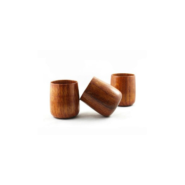 Moyishi Solid Wood Tea Cups, 250ml, Set of 4