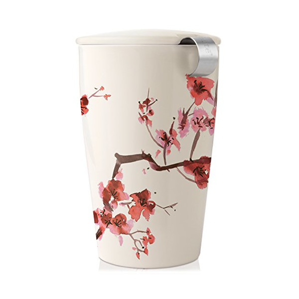 Tea Forte KATI Single Cup Loose Leaf Tea Brewing System, Insulated Ceramic Cup with Tea Infuser and Lid, Cherry Blossoms