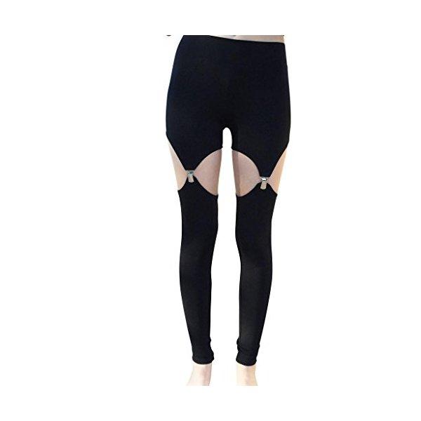 Black Women's Garter Leggings Spandex Girls Handmade Full Ankle Length Yoga-L